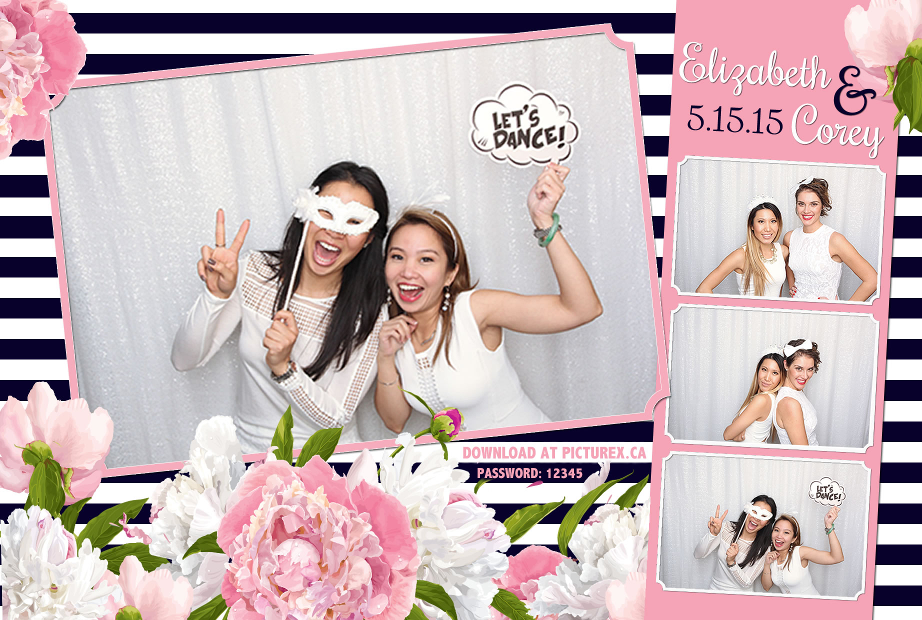 FlowerStripe_4x6 modern photo booth template