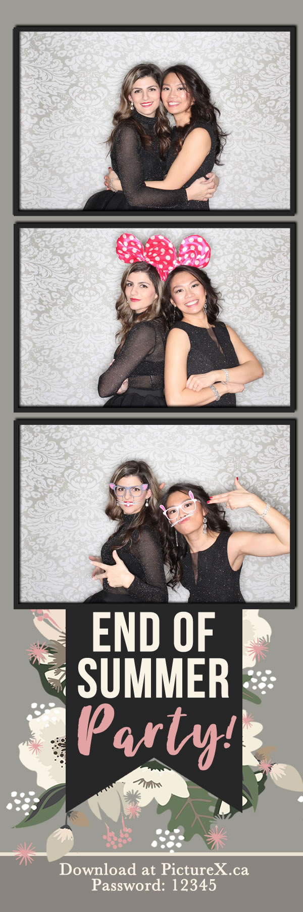 darkFloral photo booth print strip