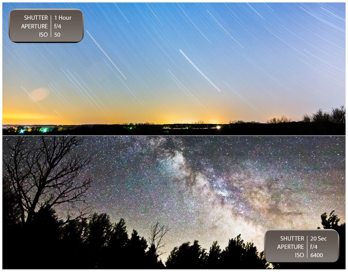 ASTROPHOTOGRAPHY: (Top) If you set your camera to take a photo long enough you can actually capture the rotation of the earth in your images. (Below) Using a higher ISO with a shutter speed that's only a few seconds long can capture beautiful shots of the night sky.