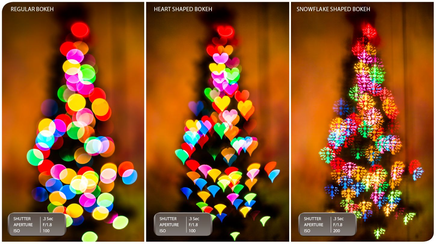 CHRISTMAS BOKEH: Using a piece of paper with different shapes cut into it can yield different results in an images bokeh (background blur) when held up to the front of your camera's lens.