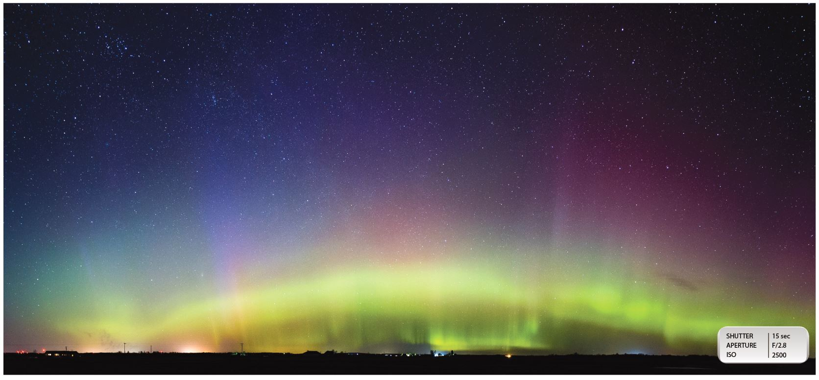 BRILLIANT DISPLAY: The image above is a composite of two photographs I took so I could fit the entire auroral oval into the shot. This image was taken just north of Marion in Osceola County, Mich. around 10:30 a.m. when the lights were at their peak brightness.