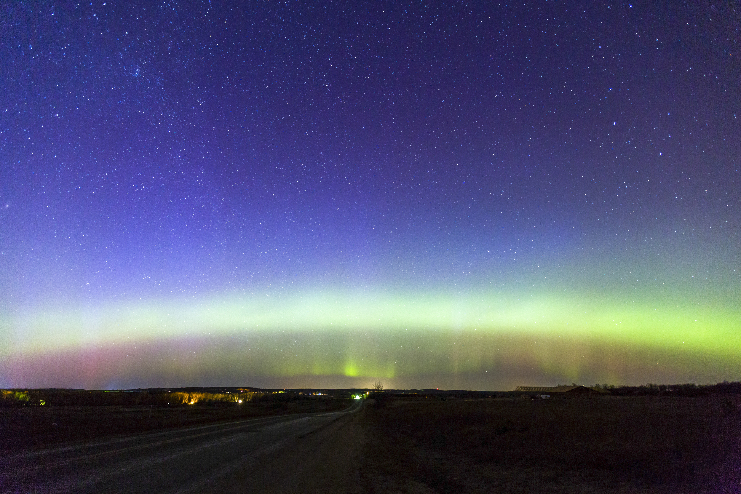 LIGHTS OVER HERSEY: I took this image just east of Hersey, Mich. where there is a nice elevation and a lot of open field. The auroral oval was clearly visible just after sunset and curtains of light danced in the sky as the hours passed.