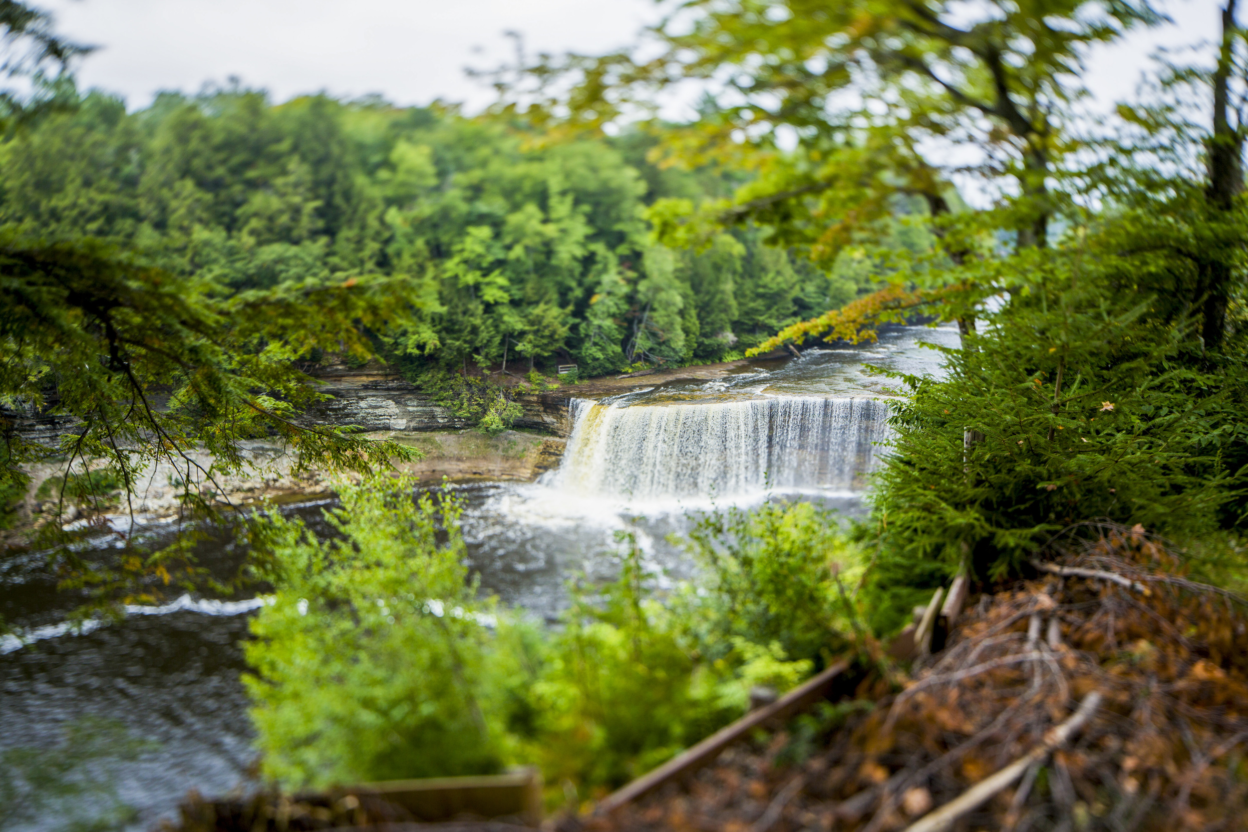 TAHQUAMENON FALLS: Taking advantage of the tilt/shift lens' tilt capability, I was able to make Tahquamenon falls in Paradise look like it was far smaller than it actually is. The blur at the top and bottom of the photo is what causes that effect.