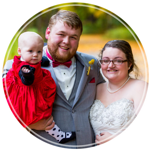 HAPPY FAMILY: The newlyweds are seen here with their daughter, Aubrey. Chelsea passed away during the summer of 2015 in a car accident. Her heart is preserved in her photos and they serve as a way for Aubrey to someday learn who her mother is.