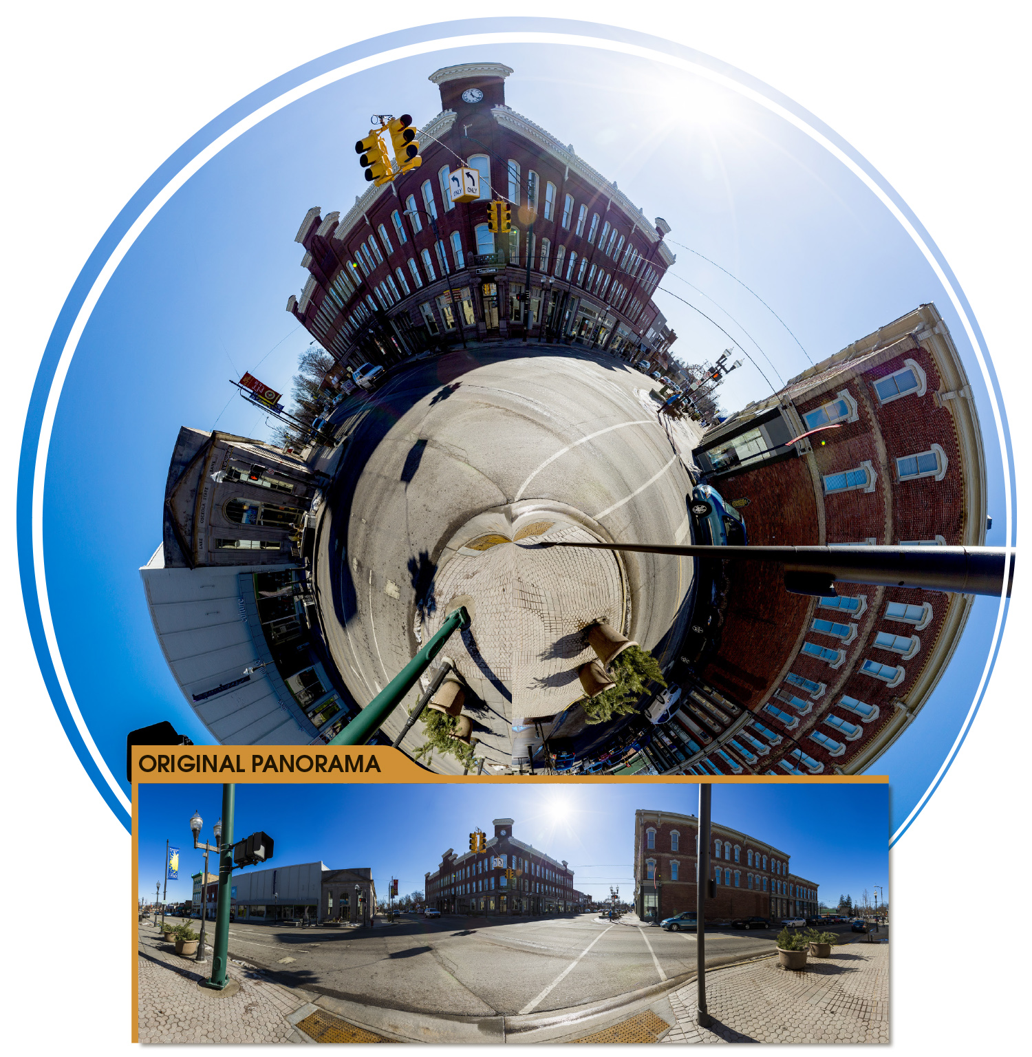 DOWNTOWN: Creating a miniature planet of downtown Big Rapids proved to be more difficult than the one I made in Hemlock Park. Many wires and poles shoot off the edge of the image, and finding the right place to shoot the panorama without getting ran over by cars was tricky. You'll notice that for the panorama (which isn't a full 360-degree shot), I made sure that the sidewalk was on the left and right edges of the image. This made creating the planet much easier in Photoshop.