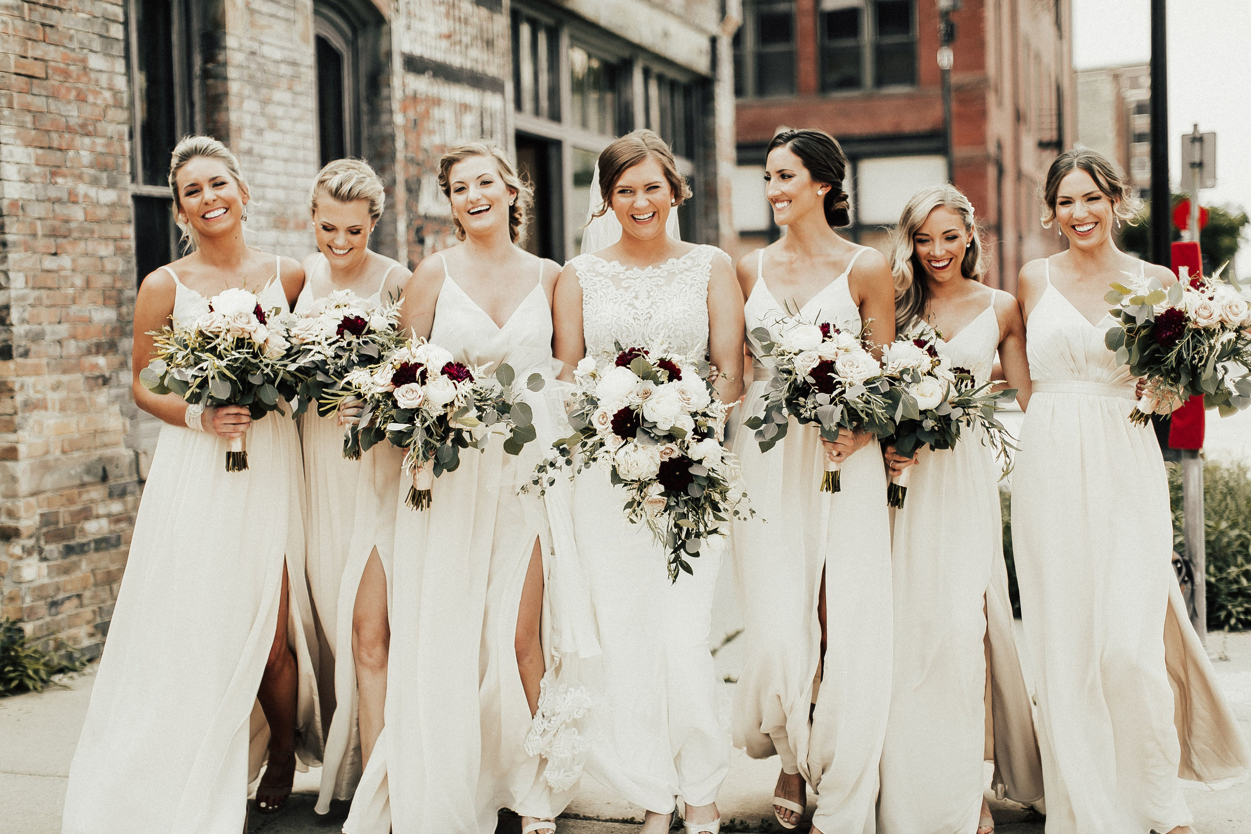 From Left to Right: Hayley Erstad (matron of honor), Brooke Harms (bridesmaid, sister of the groom), Sami Harms (bridesmaid, sister of the groom), Katie Harms (BRIDE), Kristie Miller (bridesmaid), Ali Wolff (maid of honor) Erika Dahlen (bridesmaid)