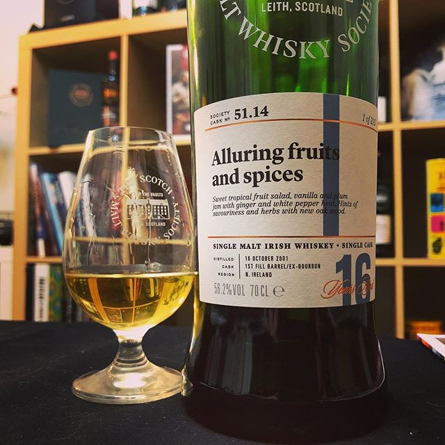 Tonight's featured dram on our livestream was the delightfully fruity and compelling 51.14 Alluring fruits and spices all the way from Ireland. A bold and complex single cask that showcases sugary spice and stone fruits on top of a clean and mature malt. This Friday's #Outturn at midday for members is looking tasty indeed! . . #thesmws #irishwhiskey #whiskeyclub #whiskyfair #alluring #fruitsandspices #ireland #singlecask