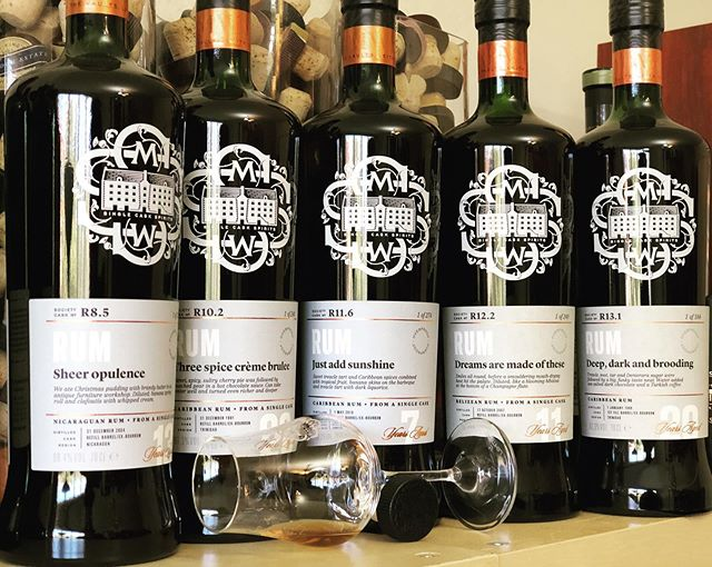 In the office today: tasty rums for our @brixdistillers night in about 2 weeks. Can't wait to launch the highly anticipated R13.1. Cheers! . . #caroni #singlecaskrum #rumdiary #sugarcane #caskstrength #rum #rhum #sundayspirit #thesmws