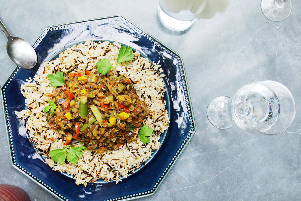 North african vegetable stew cumin asparagus pepper tomato harissa wild rice.jpg