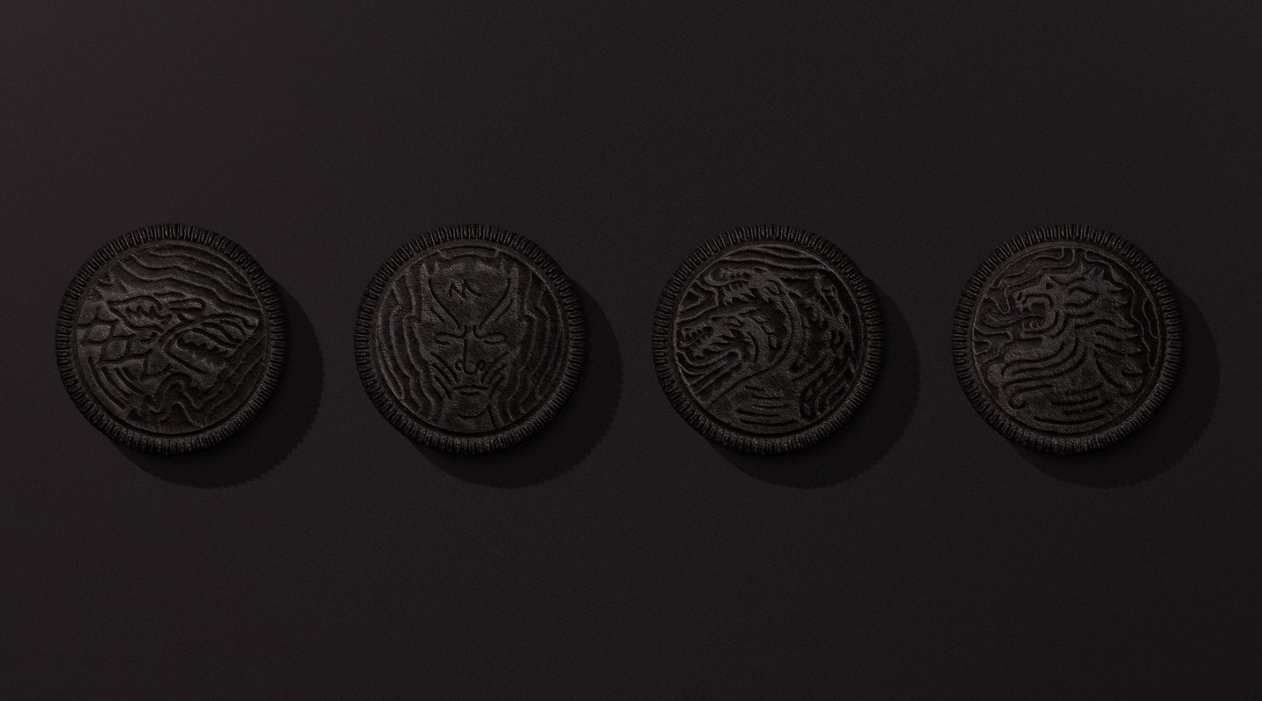 From left to right: House Stark, White Walkers, House Targaryen, House Lannister