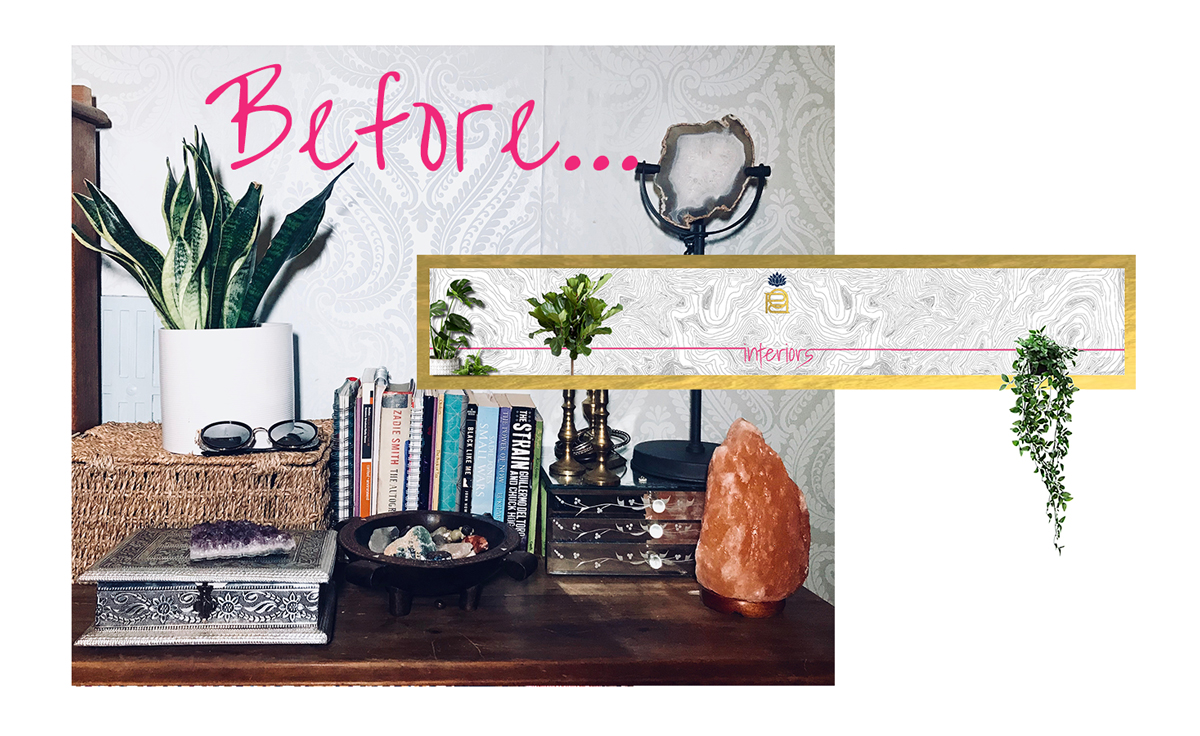 Plants and crystals are great for wellness but the cluttered styling is a joke. Don't let me start on the wallpaper.