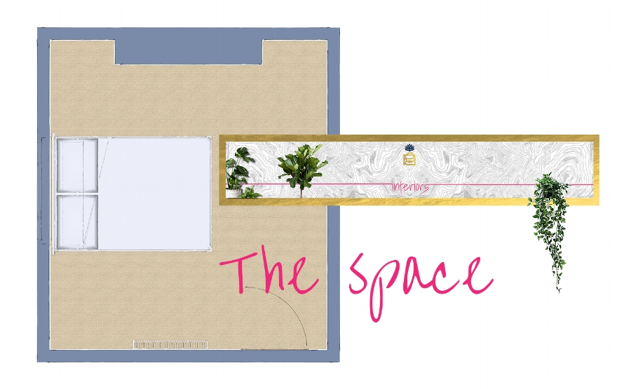 The basic floor plan minus anything but the bed shows me exactly how much space there is to play with.