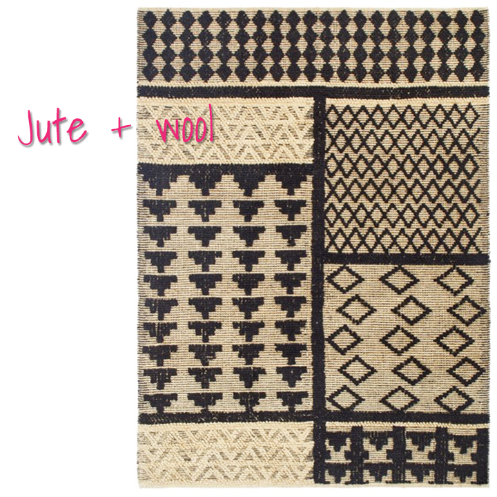 I'm so hot for this patterned jute rug it's a damn shame! But it has a wool content to make the beasty . Ugh!