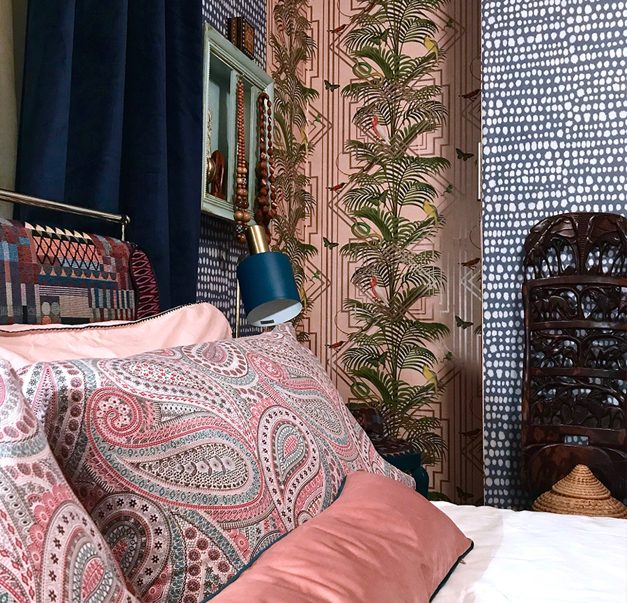 I like to pattern clash so keeping a close eye to the colour palette is essential. The plainness of velvet still ups your texture variety whist giving a calmer aspect to the room.