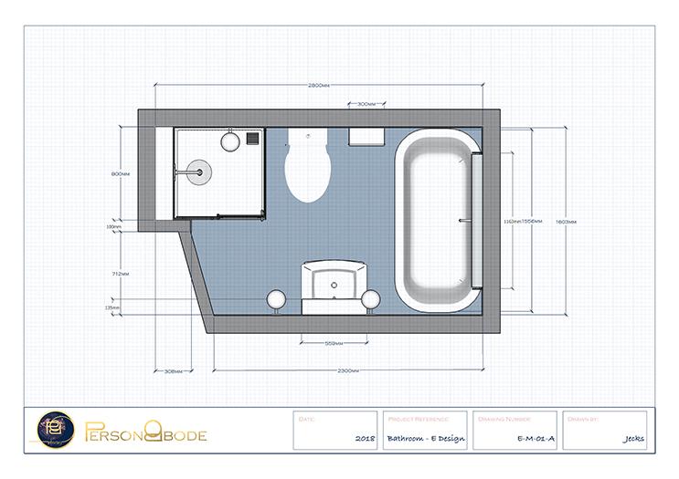 Aruba Bathroom - Dimensions Floorplan