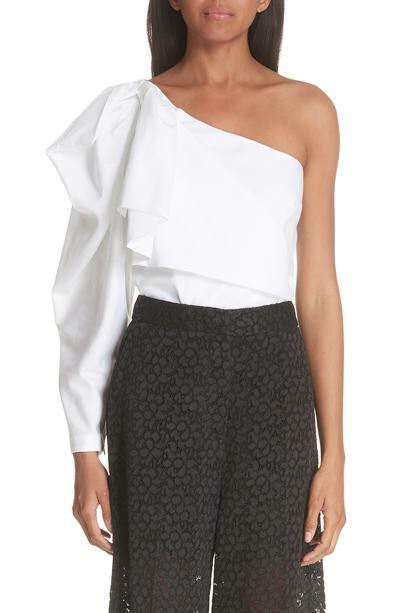 Stella McCartney Ruffle One-Shoulder Cotton Blouse