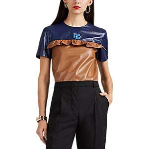 Prada Ruffle Colorblocked Leather Top $$$$$