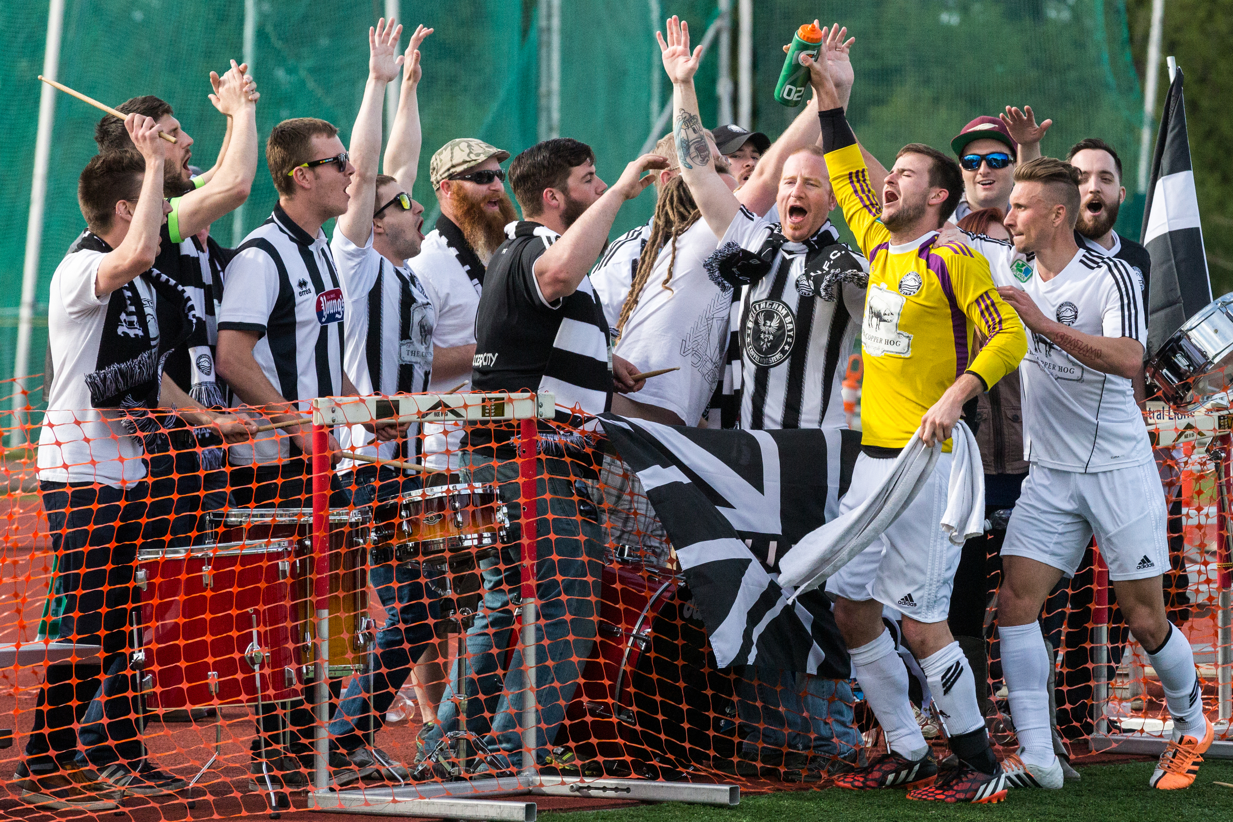 The Bellingham United supporters group, the Black and White Army, cheers with players despite a tough 5-1 loss against South Sound FC on Sunday, April 26, at Civic Field.