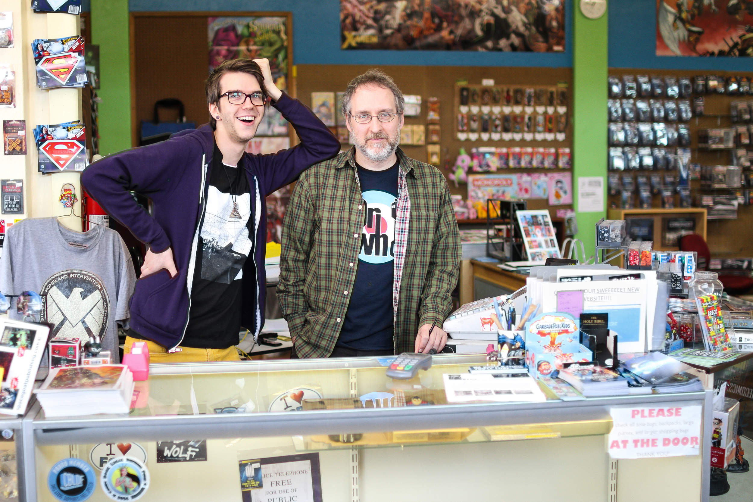"Jeffery Figley and Roman Stadtler graduated from Western Washington University about 15 years apart but both wound up working at The Comics Place together. They have both been reading comics most of their lives and for Stadtler, comics inspired him during a difficult battle with cancer.   ""Spider-Man, Ben Grimm, Steve Rogers, Superman,"" Stadtler said. ""None of these guys would ever give up. I've been reading these stories my whole life. If those stories are going to mean anything and have value, I can't give up either,"" Stadtler said."