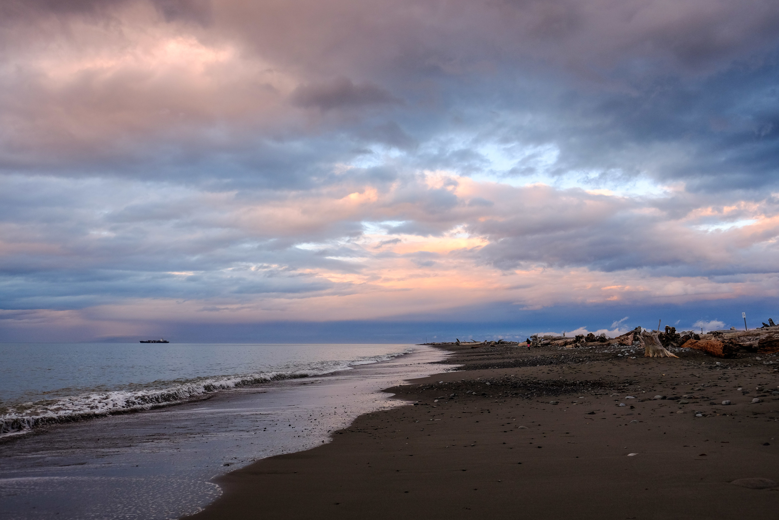 Walking along Dungeness Spit for a nice, cloudy sunset.