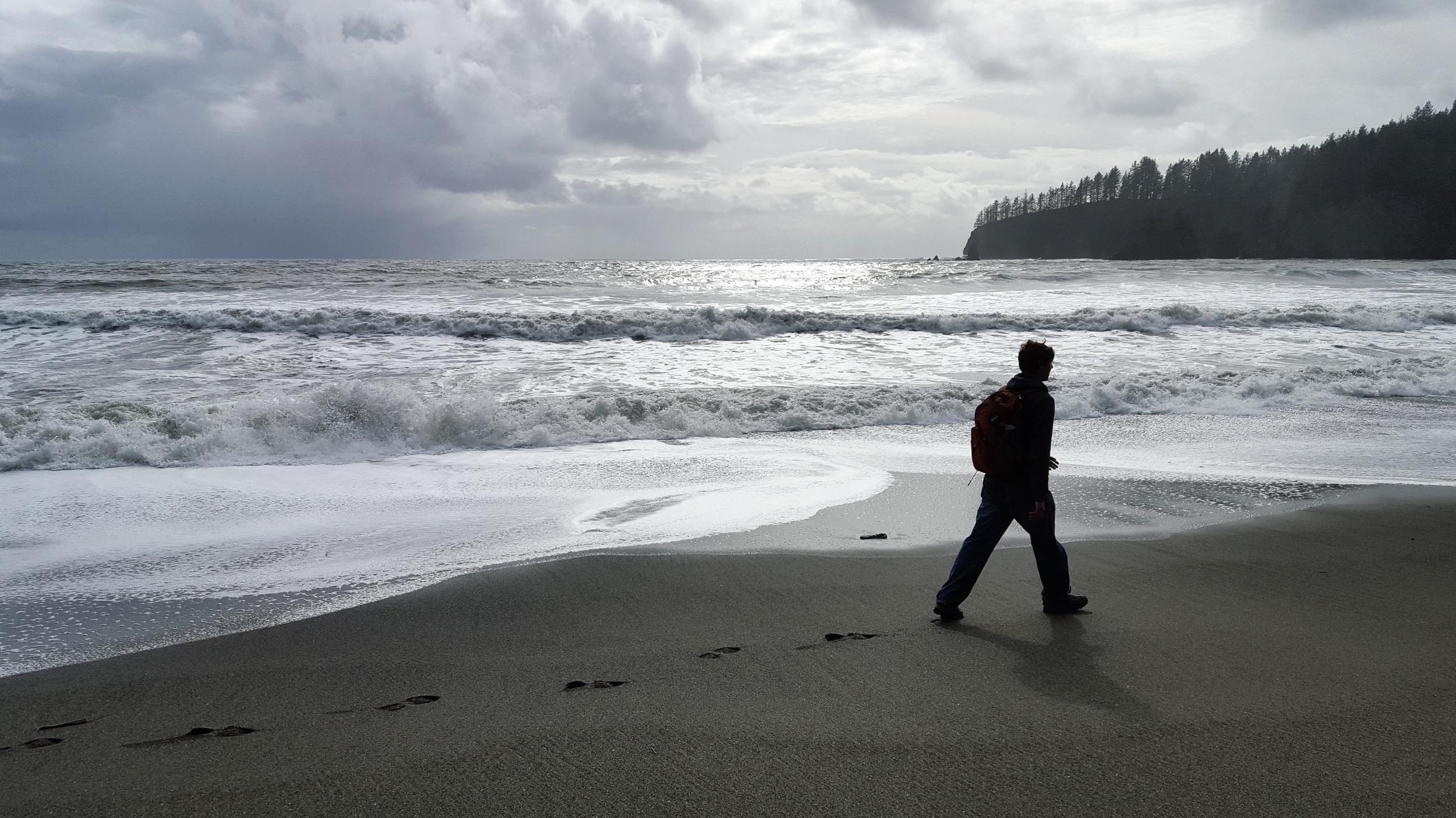 Walking along Third beach on the Washington coast.