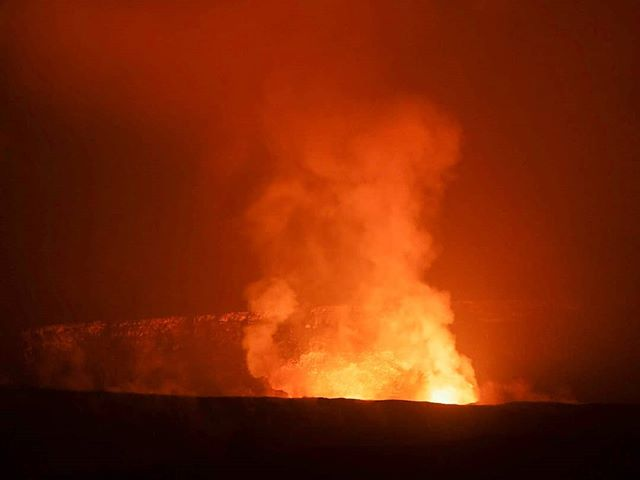 A few months ago I was standing at the Jagger overlook at the rim of the now erupting Kilauea crater. I won't forget the experience of watching the glow of the lava lake and seeing lava burst up and illuminate the crater. It's hard to imagine the immense changes happening in volcanoes national park due to the ongoing eruption. This picture shows the Halema'uma'u crater before the eruption reshaped its features.