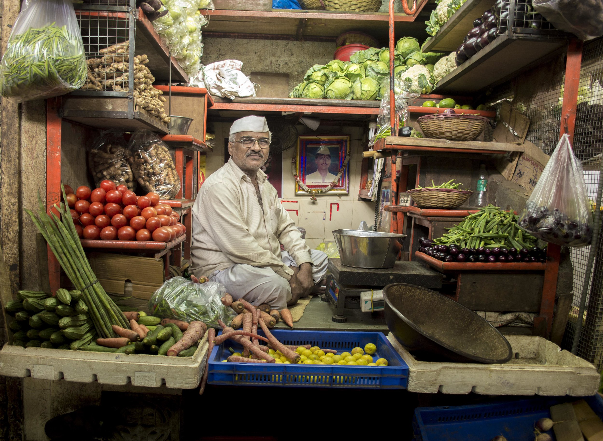 Proud produce shopkeeper in Mumbai's Crawford Market