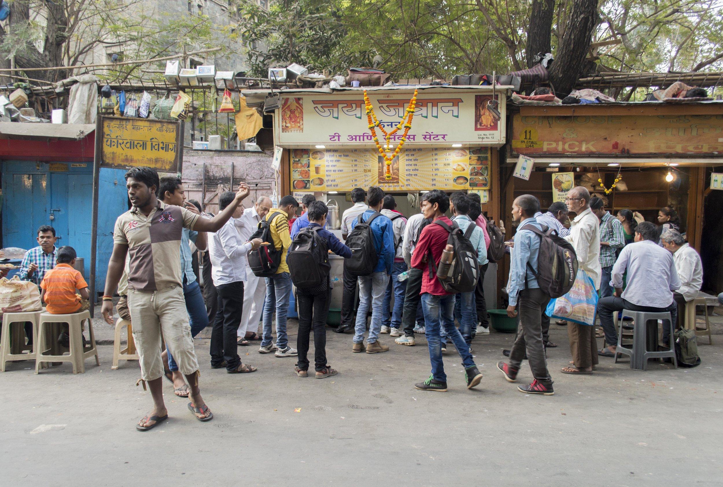 queueing at Jai JAwan kiosk Mumbai.jpg
