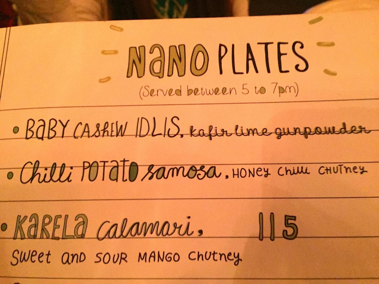 Whimsical menu at Farzi Cafe, Delhi.