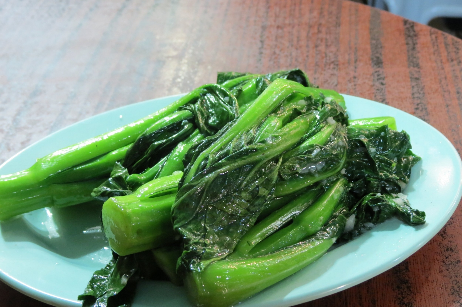 Gai lan or Chinese broccoli side dish at Ton Tai Seafood Restaurant, Temple Street Night Market, Hong Kong