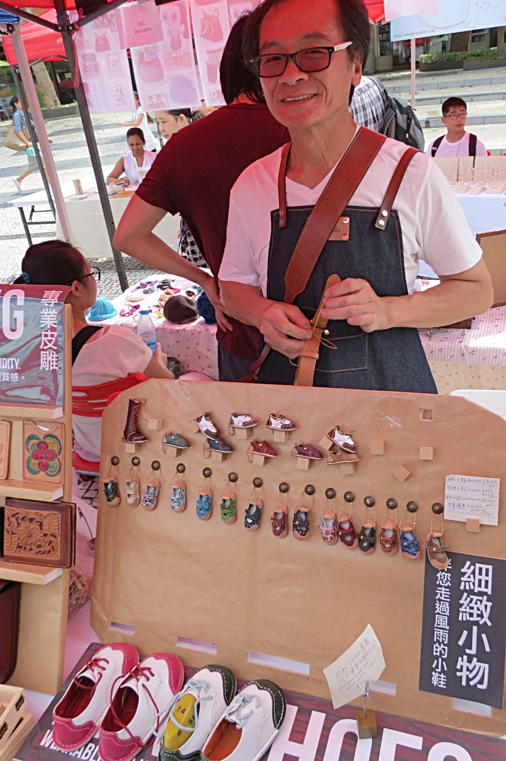 An artisan crafts children's spectator brogues at Handmade Hong Kong Market