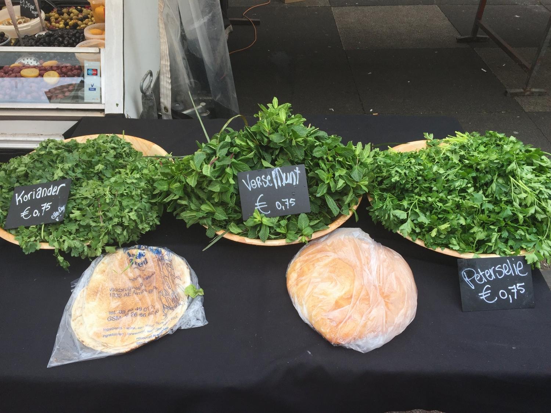 Gorgeous fresh herbs at Albert Cuyp open air market in Amsterdam