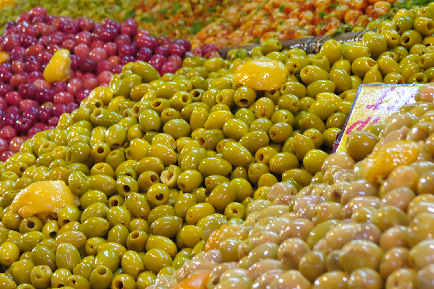 Mountains of olives in Casablanca's Habous Market