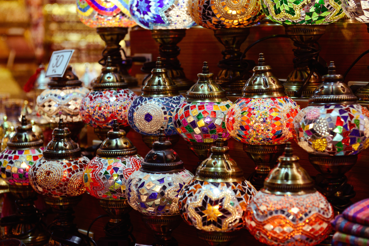 colorful lanterns in Istanbul's spice market.png