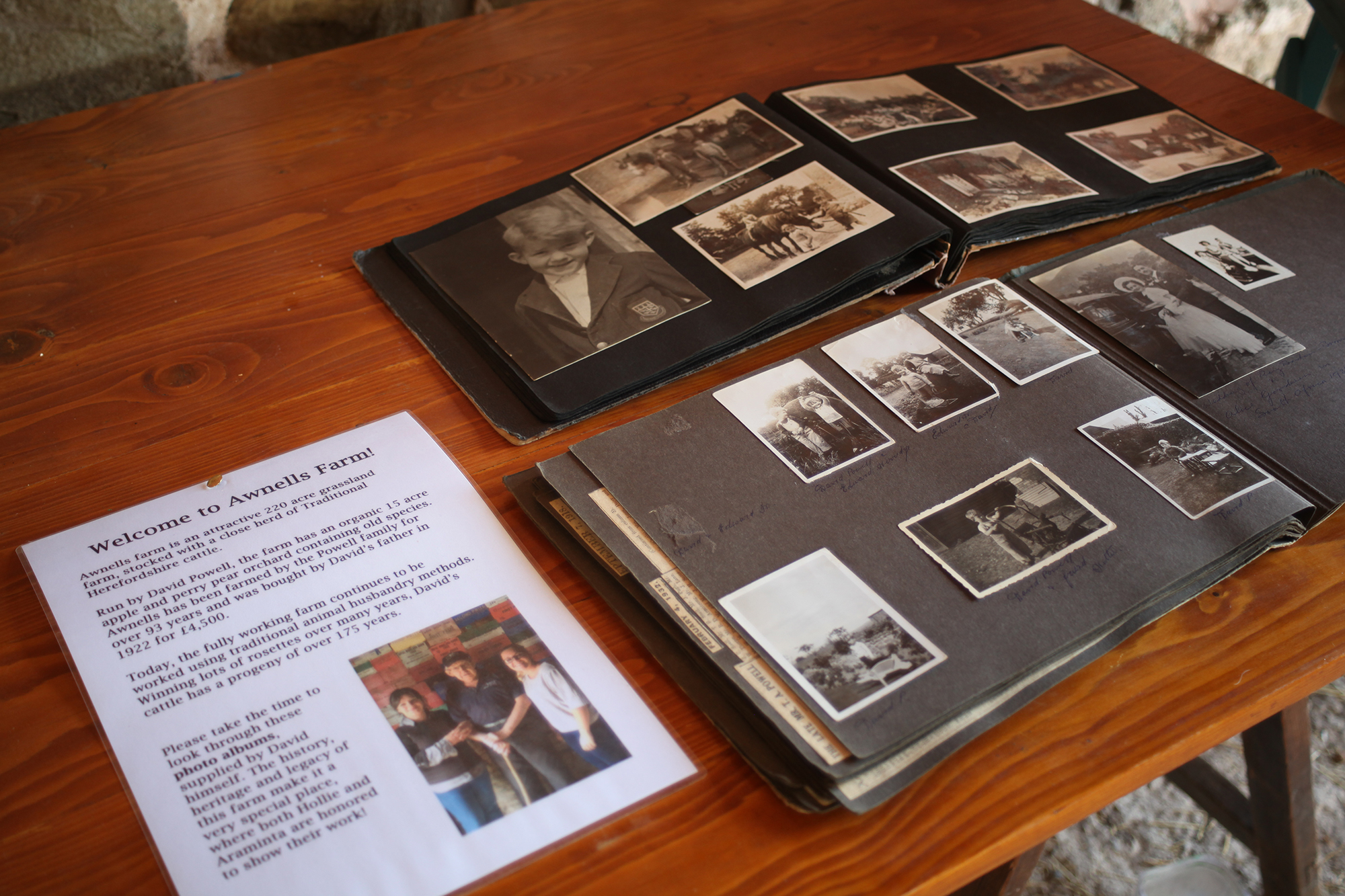 Also on show in the barn were some old photo albums, capturing the farm's history.These proved particularly popular and complimented the heritage of the exhibition's