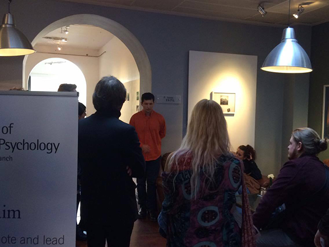 Matthew Broadhead speaking to Plymouth College of Art students