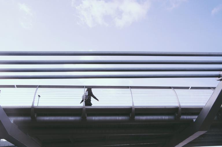 Lone pedestrian, Millennium Bridge