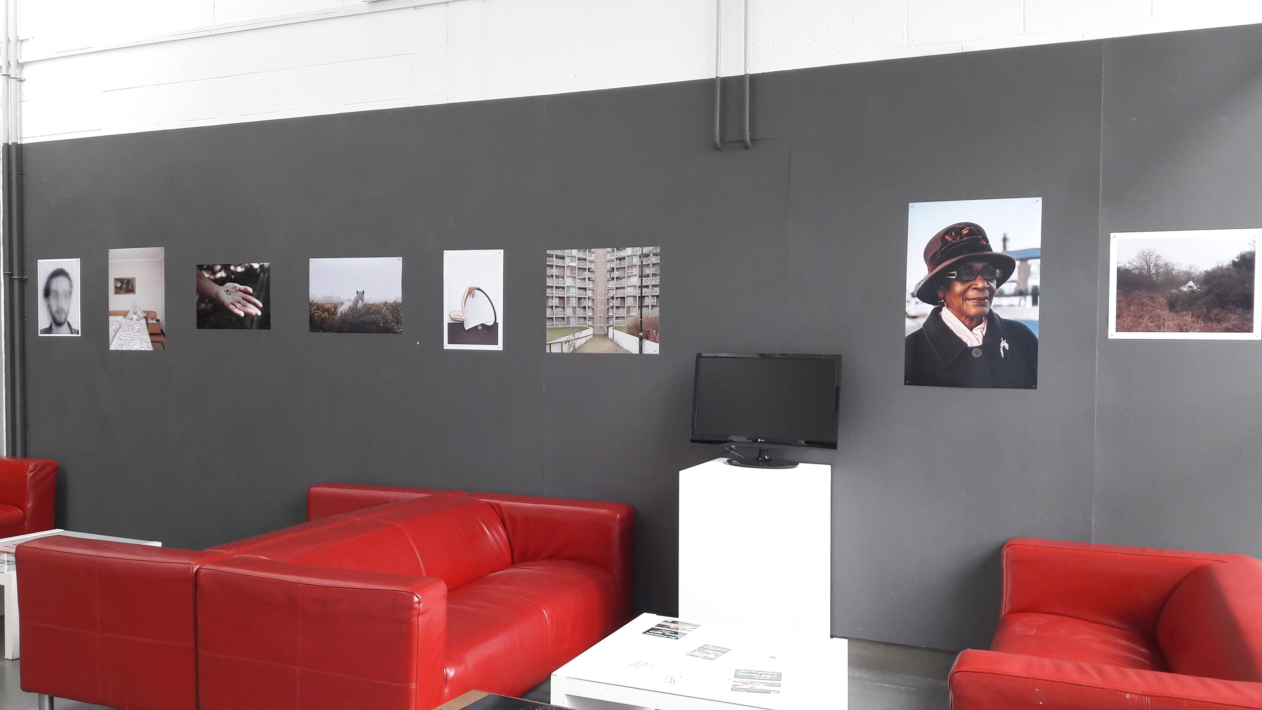 Installation image of some of the work at the Arts Café  (From left to right: Liam Collins, Christina Stohn, Victoria Chetley, Marie-Louise Garratt, Jocelyn Allen, Leticia Batty, Matt MacPake, Alastair Bartlett)