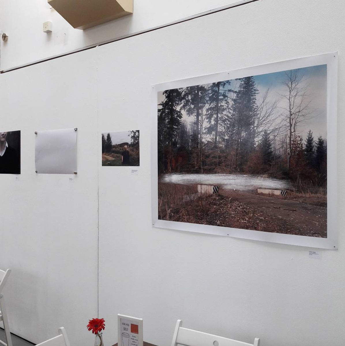 Installation image of some of the work at the Arts Café  (From left to right: Andrea Allan, Declan Connolly, Charlotte and Georgia Bennett, Andreea Teleaga)