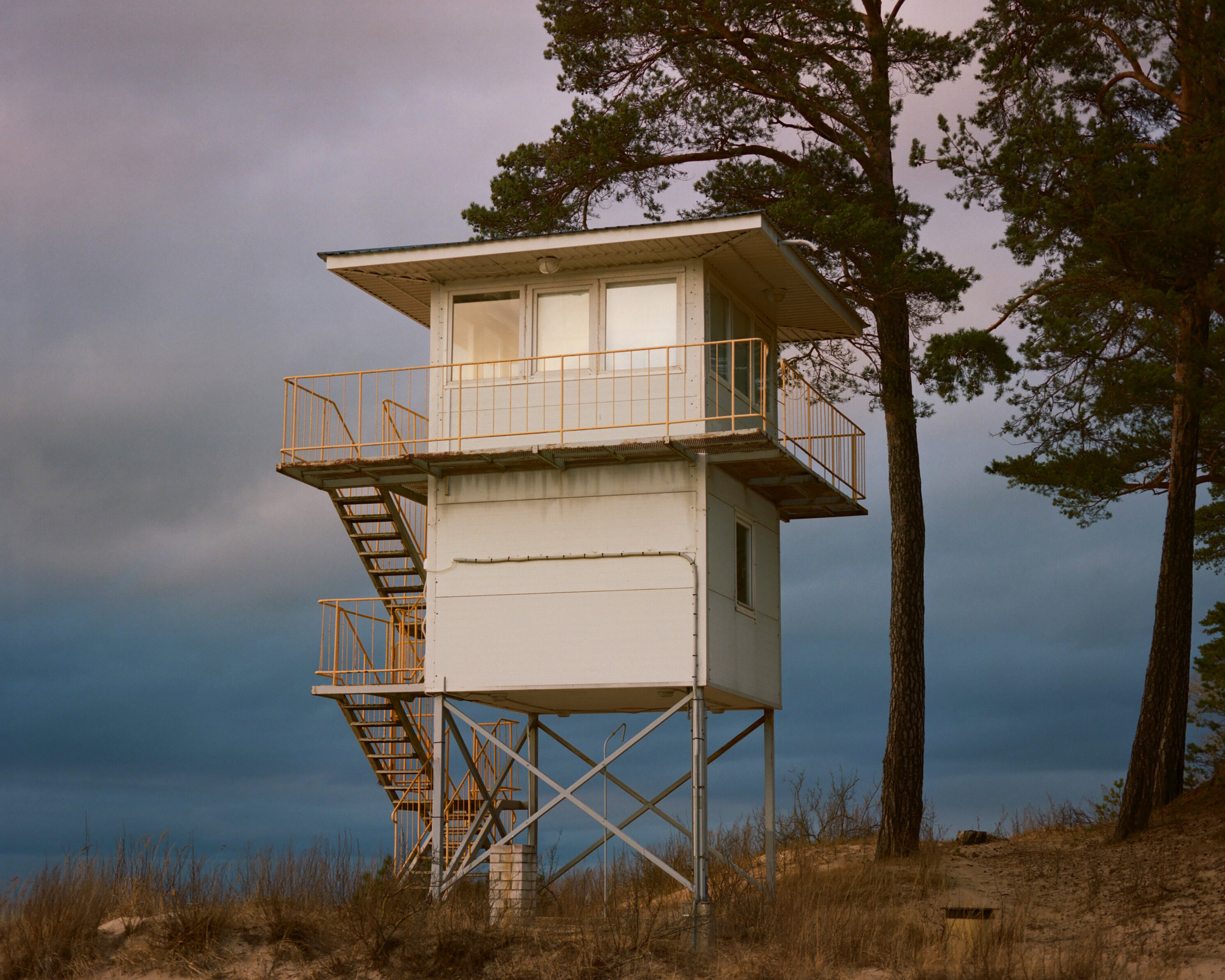 A viewing platform to observe birds and wildlife on the Baltic Coast, in Narva-Jõesuu, Estonia.