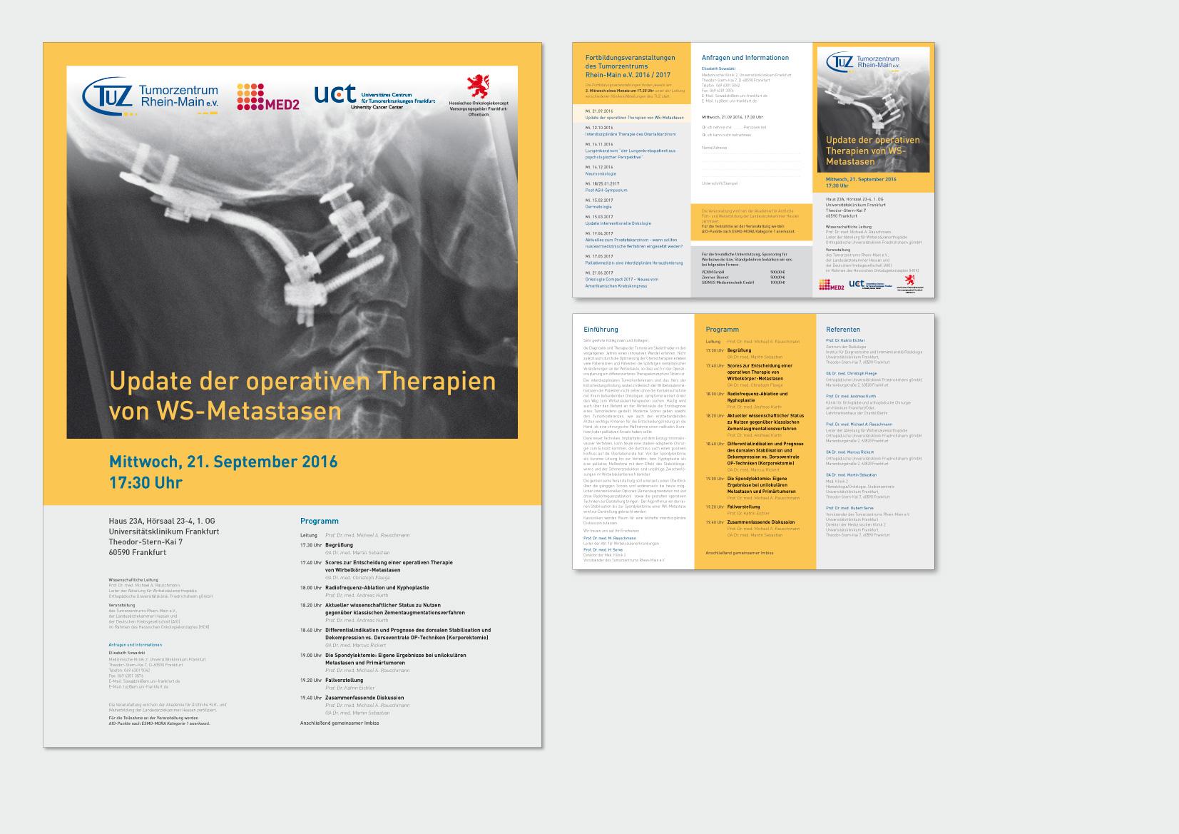 Monatliche Veranstaltungsreihe  des Tumorzentrum Rhein-Main e.V. am Universitätsklinikum Frankfurt/Main Plakat (A2), Folder (6 Seiten, Wickelfalz auf DIN Lang)