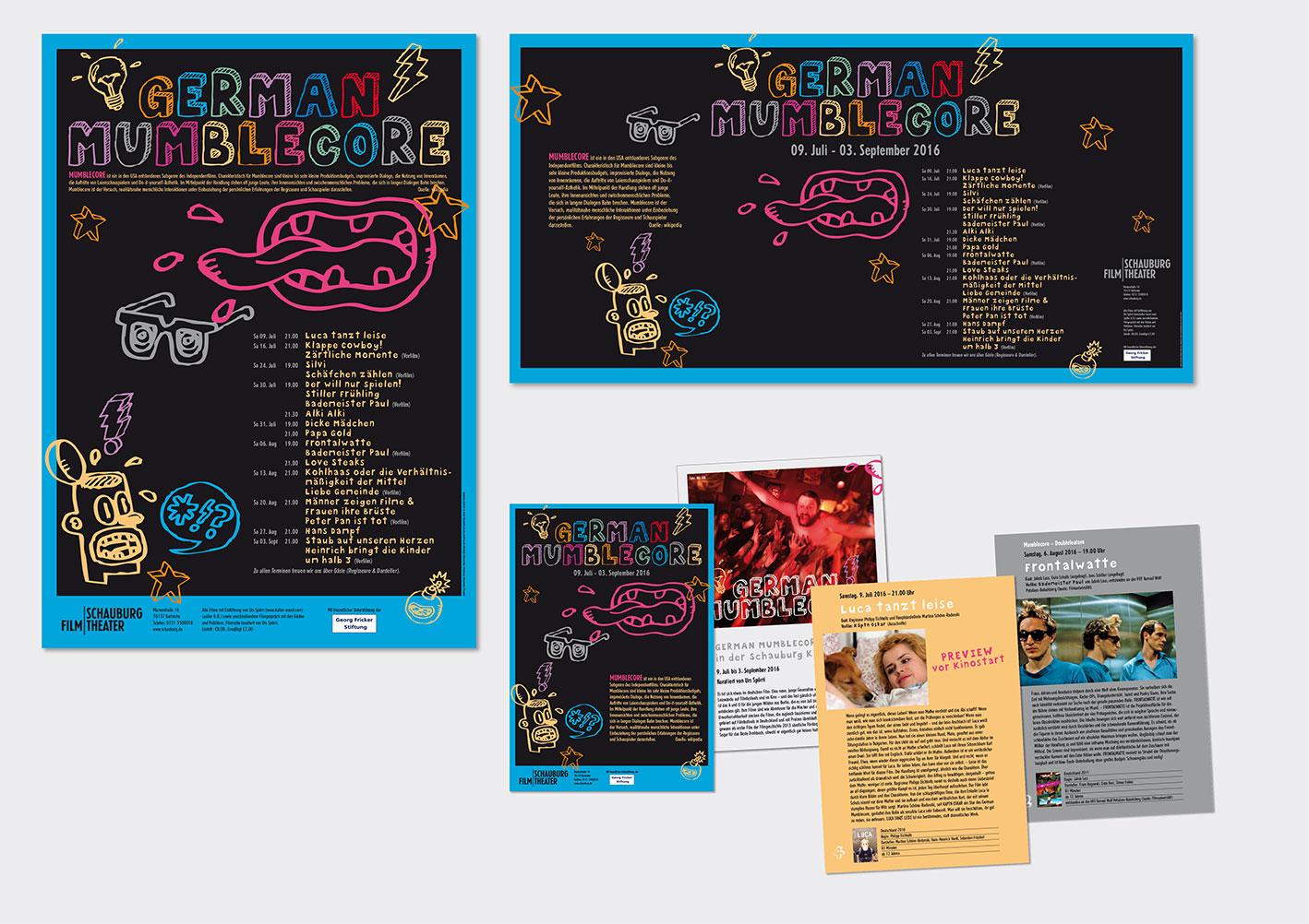 GERMAN MUMBLECORE-Filmreihe  – Schauburg Filmtheater, Karlsruhe Plakat (A1), Bauzaunbanner (3400x1730 mm) und  Festivalbroschüre  (Format: A5, 20 Seiten)