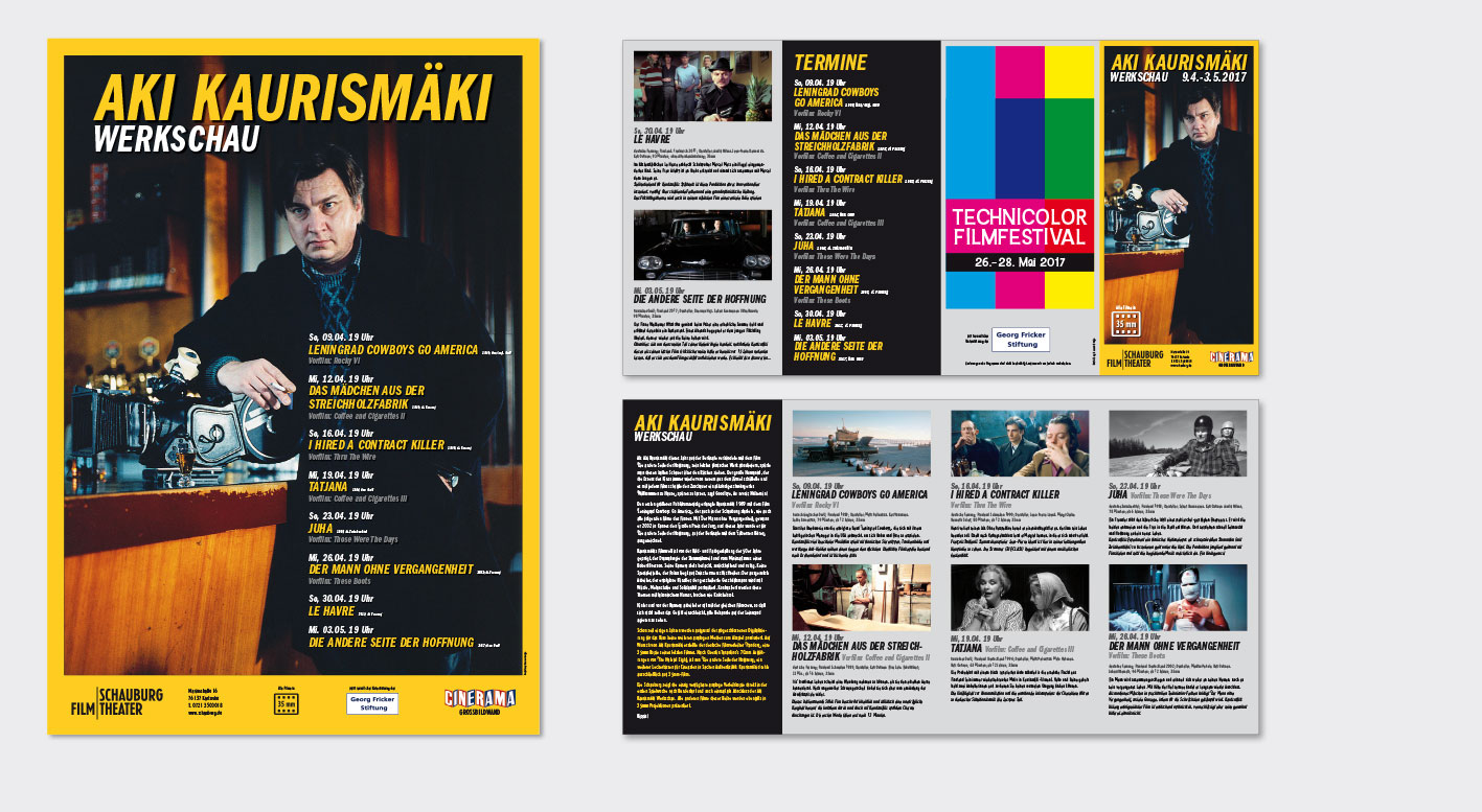 AKI KAURISMÄKI-Filmreihe  – Schauburg Filmtheater, Karlsruhe Plakat (A1) und Programmfolder (Format: DIN Lang, 8 Seiten, Doppelparallelfalz)