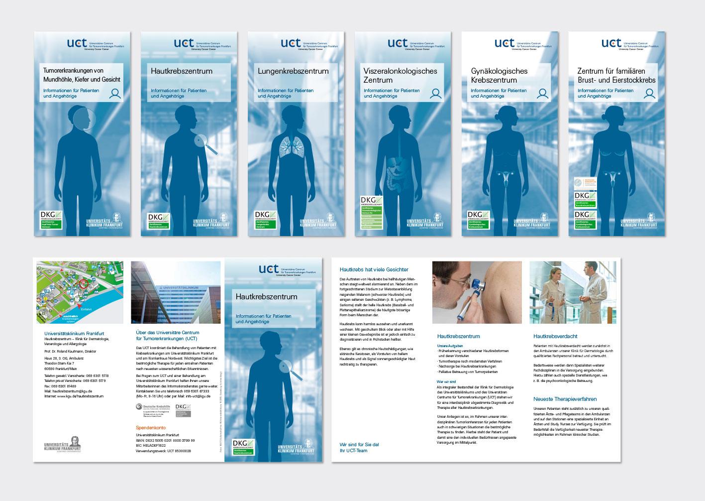 """""""UCT – Universitäres Centrum für Tumorerkrankungen""""  am Universitätsklinikum Frankfurt/Main Folder: DIN Lang, 6-8 Seiten, Wickelfalz"""