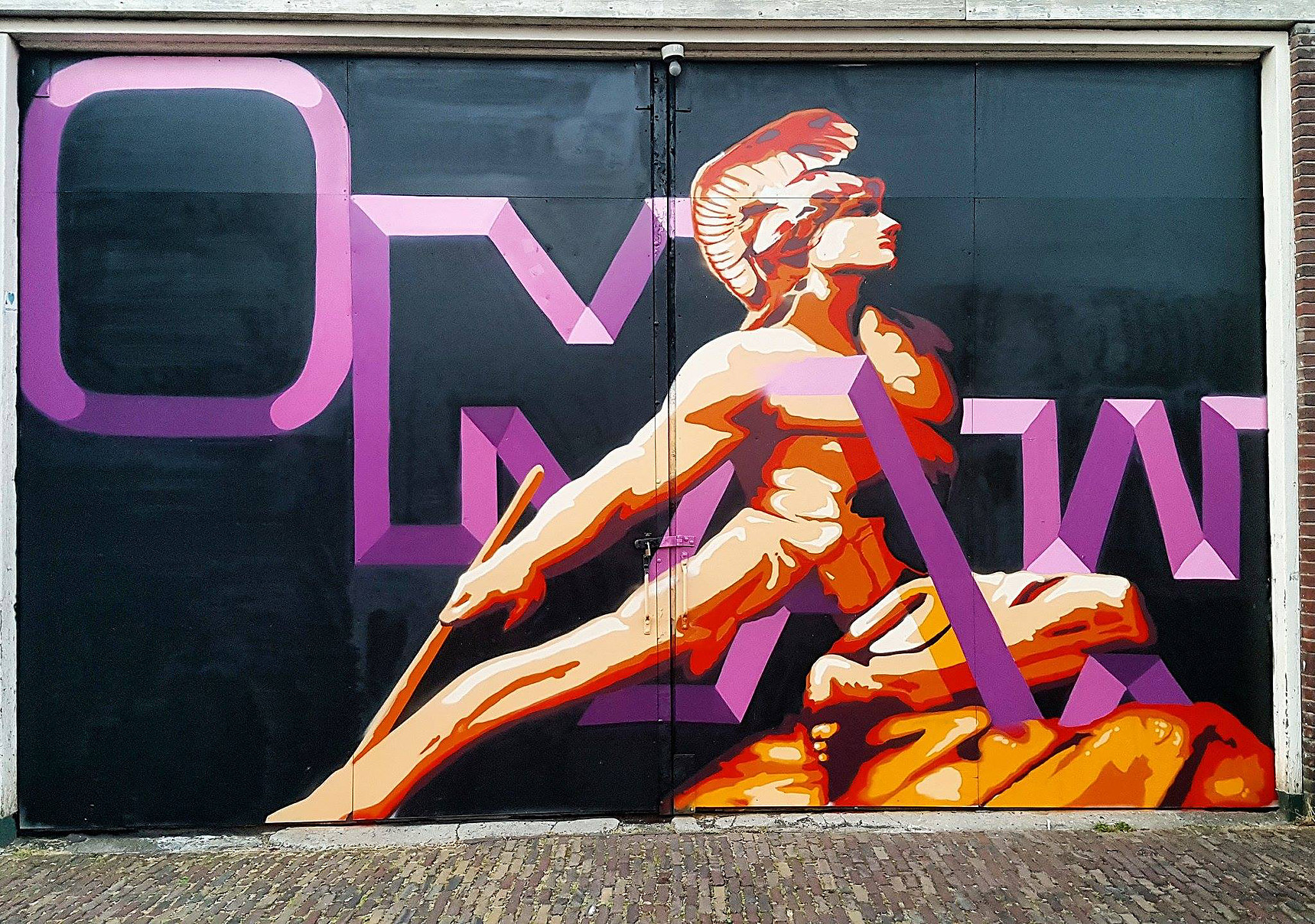 """Værk af Richard Holmes, der også i street art miljøet kalder sig """"OMAW""""."""