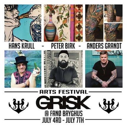 Galleriet og @griskaarhus har teamet up med @fanoebryghus til at deltage i årets Arts Festival fra d. 3 - 7 juli ☀️🎨🔥 Her deltager @peter_birk @anders_grandt og @hanskrull 🔥  #Festival #Fanø #Bryghus #Fanøbryghus #Galleri #Kreativ #Kunstner #Tattoo #Kunstfestival #Sommer #Kunst