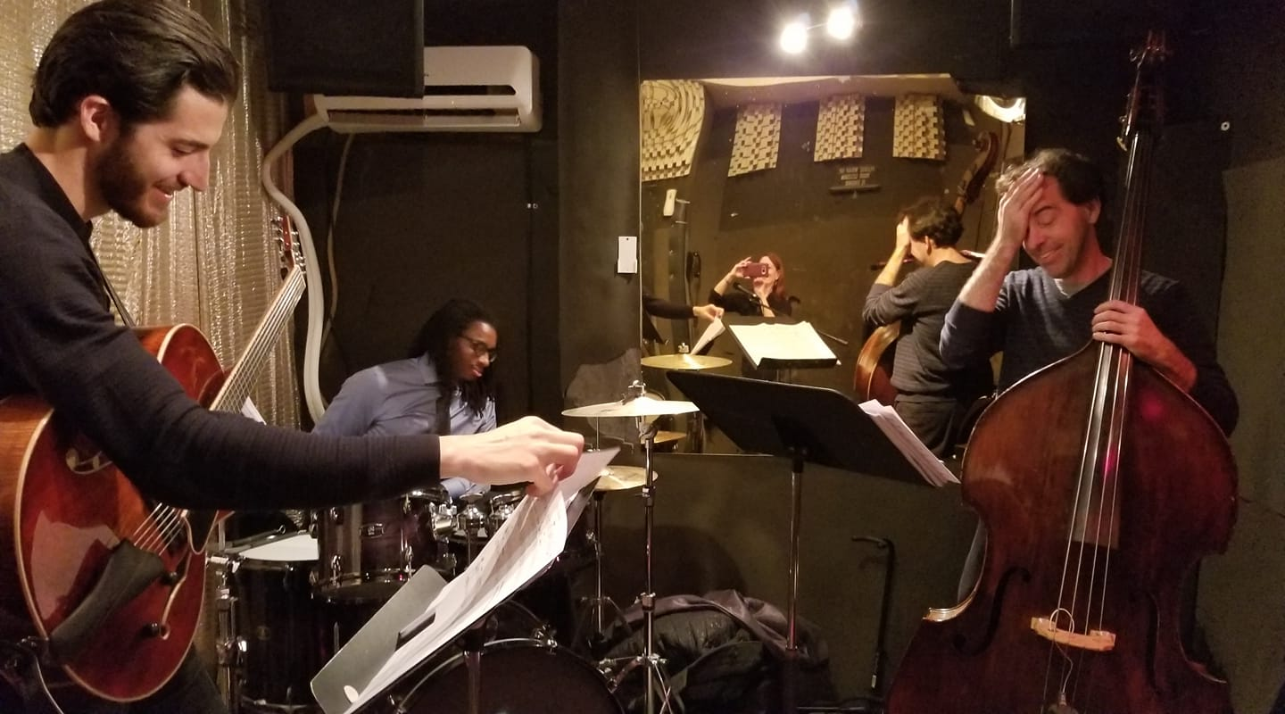rehearsal with Jarrett Walser (drums) and Leo Smith (bass)