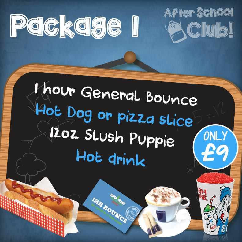 Package 1 = Bounce, hotdog or pizza slice, 12oz slush, discounted hot drink - £9