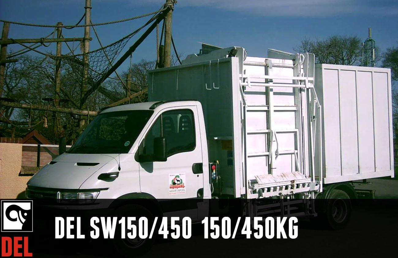 Sidewinder bin lift with 150/450 kg lifting capacity