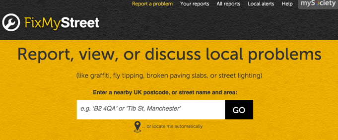 Inspiration: Fix My Street makes it easier to report problems in your community, even if you don't know who those reports should go to.